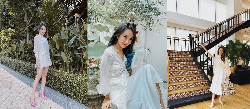 Những chiếc váy có tông màu nhẹ nhàng giúp khoe nét tinh tế, ngọt ngào của Primmy Trương luôn được khen ngợi.