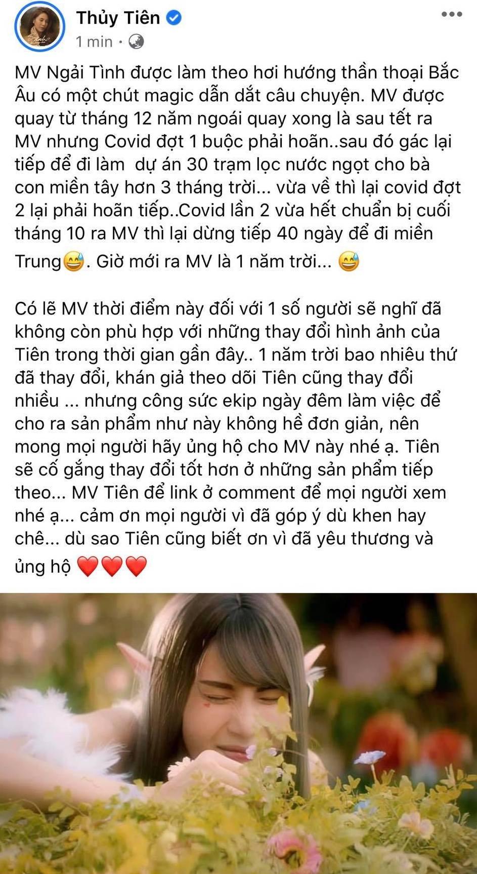 Thuỷ Tiên trải lòng về MV mới.
