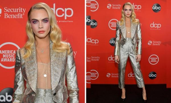 Cara Delevingne tái xuất thảm đỏ với set đồ bạch kim phối áo corset màu nude bên trong của Dolce & Gabbana. Cô còn lăng xê cho kiểu kẻ mắt tím đậm bí ẩn, quyến rũ, liệu style make up này có thành xu hướng của cuối năm 2020?