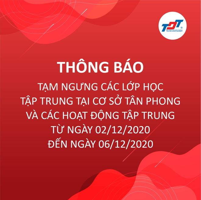 Thông báo nghỉ học của trườngĐH Tôn Đức Thắng ở cơ sở Tân Phong.