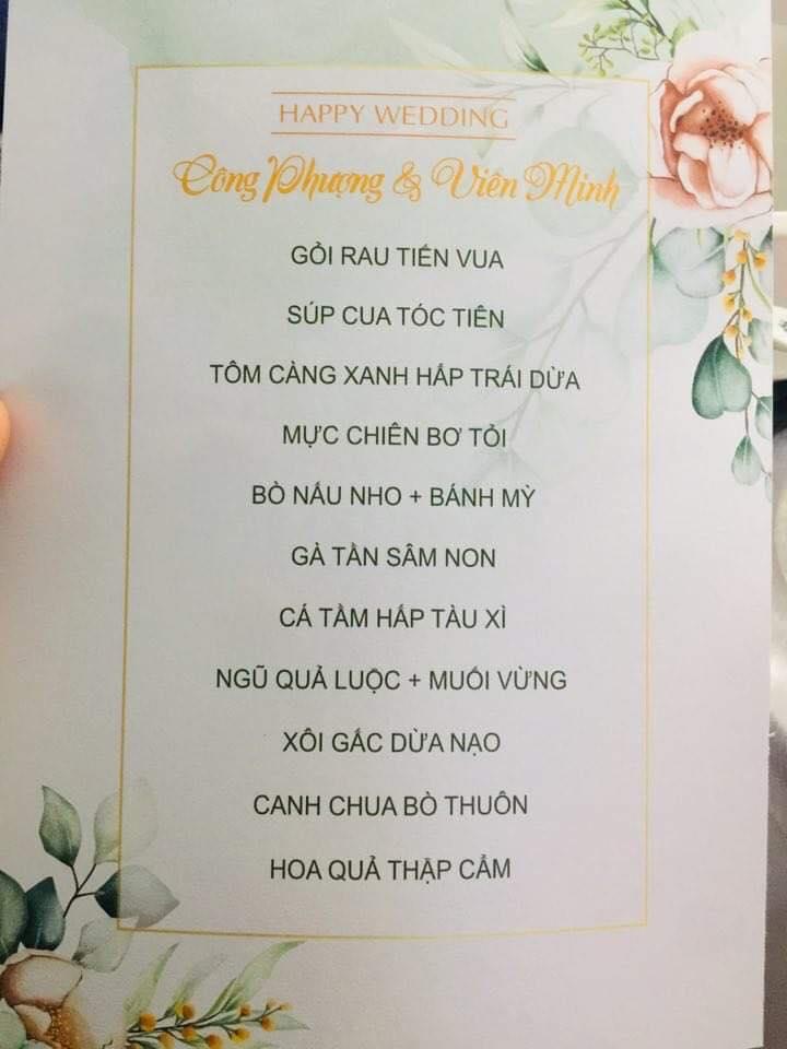 Thực đơn trong tiệc cưới ở nhà trai Công Phượng