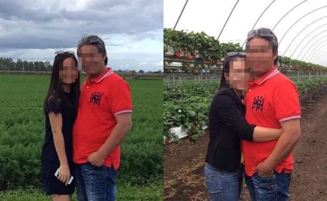 Cháu gái chụp hình với dượng - chồng chị H (bên trái), vợ chồng chị H (bên phải).
