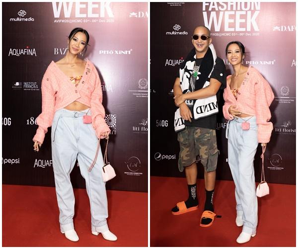Suboi diện áo hồng nhưng vẫn 'cool ngầu' với mẫu áo chất liệu tweed của nhà mốt Chanel đến ủng hộ 'người anh em' Wowy.