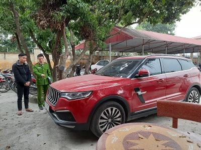 Xe ô tô mà Dương Minh Tuyền sử dụng - Ảnh: Công an Hải Dương