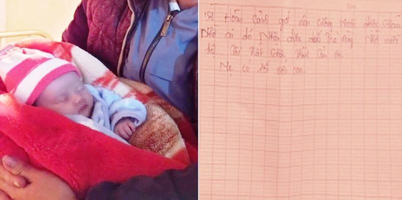 Cháu bé được tìm thấy bên lề quốc lộ 46 trong đêm 11/1 kèm theo một bức thư nhờ nuôi hộ.