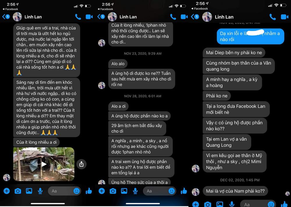 Người này tiết lộ Linh Lan thường xuyên nhắn tin cho bạn bè của chồng để xin tiền làm từ thiện nhưng sự thật thì lại không làm