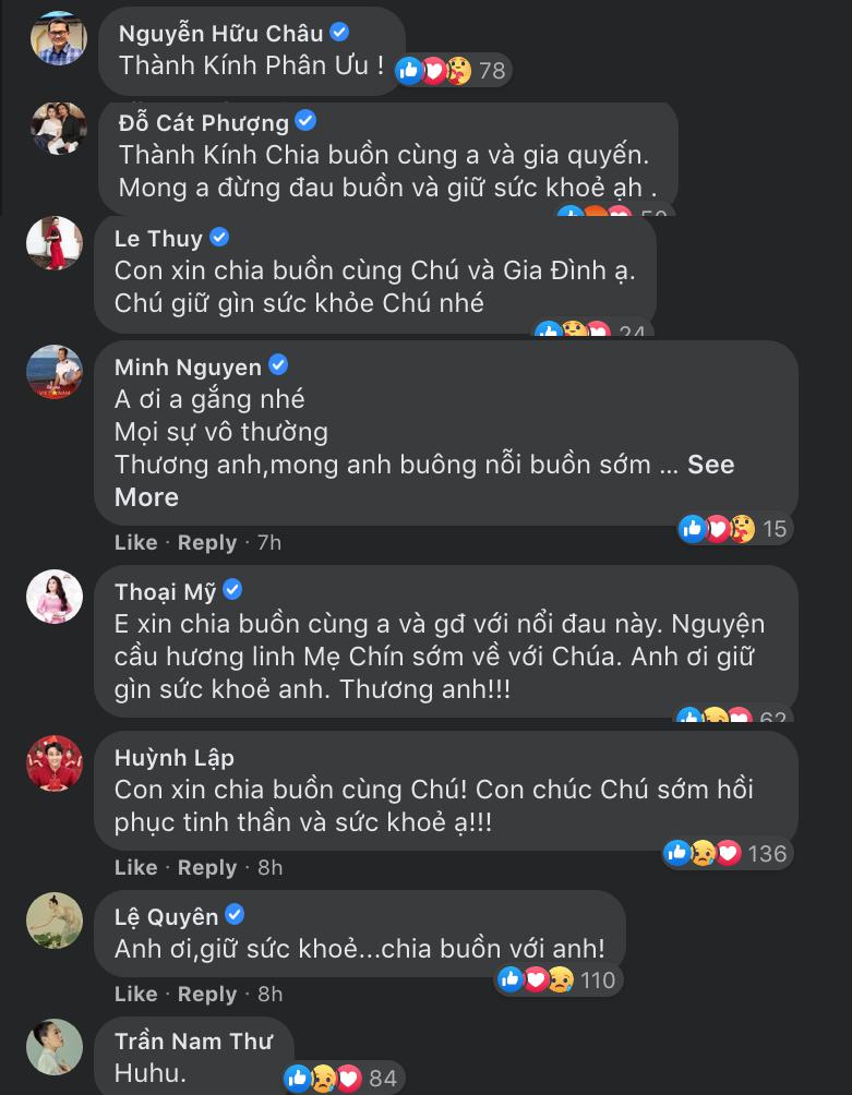 Nhiều sao Việt cũng để lại bình luận động viên và chia buồn sâu sắc với NS Hoài Linh khi liên tục trong một thời gian ngắn phải đón nhận nhiều tin dữ.