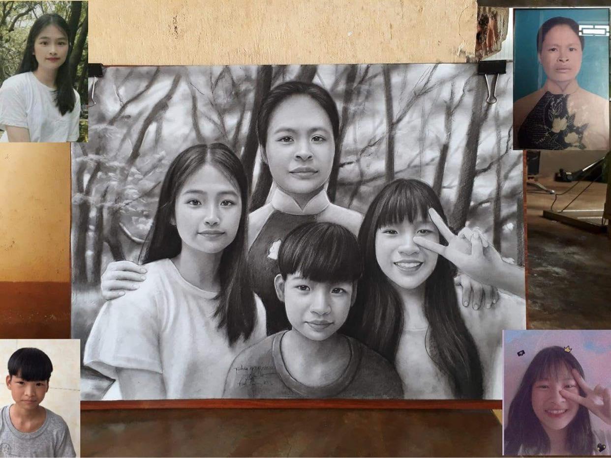 Bức tranh vẽ người mẹ đã khuất chung một khung hình với 3 người con