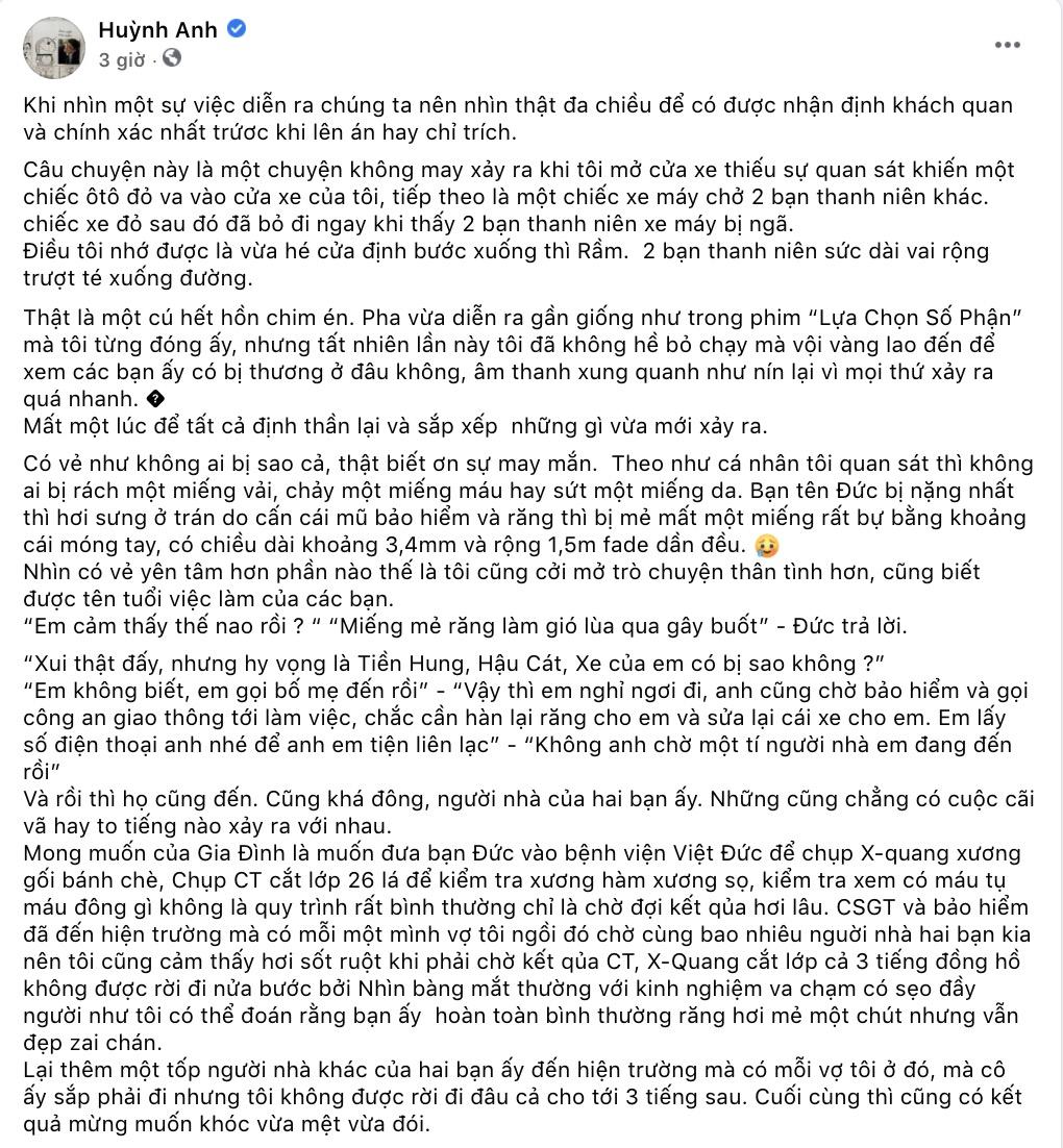 Lên tiếng sau khi bị tố gây tai nạn rồi 'lật mặt', Huỳnh Anh nhận về loạt comment bức xúc từ netizen 0