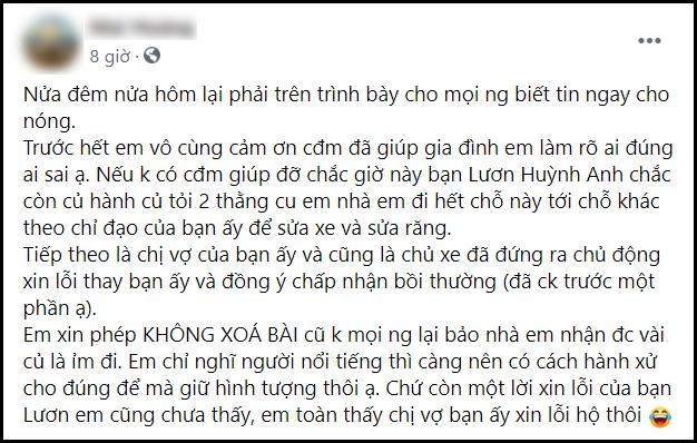 Chị gái nạn nhân vụ Huỳnh Anh gây tai nạn tiết lộ: 'Đã nhận được một phần tiền từ người vợ, tư cách Huỳnh Anh thế nào để mọi người tự đánh giá' 1