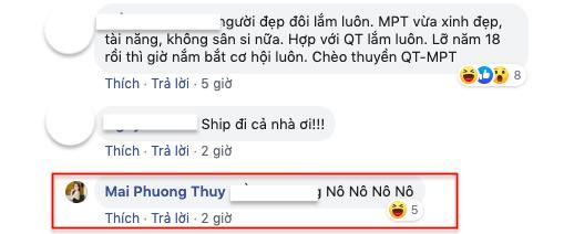 Mai Phương Thúy nói 'không' khi được ghép cặp với Quốc Trường.