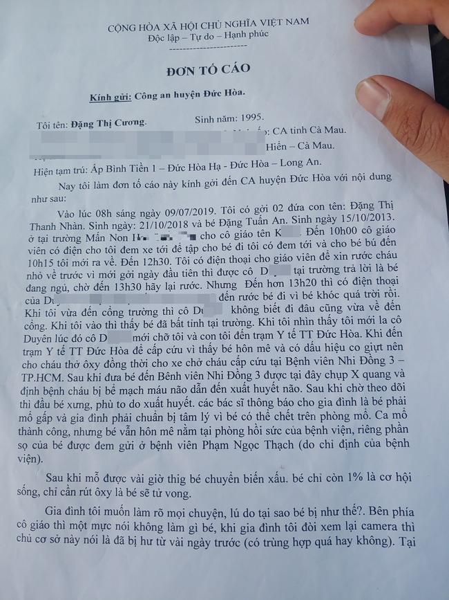 Nguyên văn lá đơn tố cáo của chị Cương.