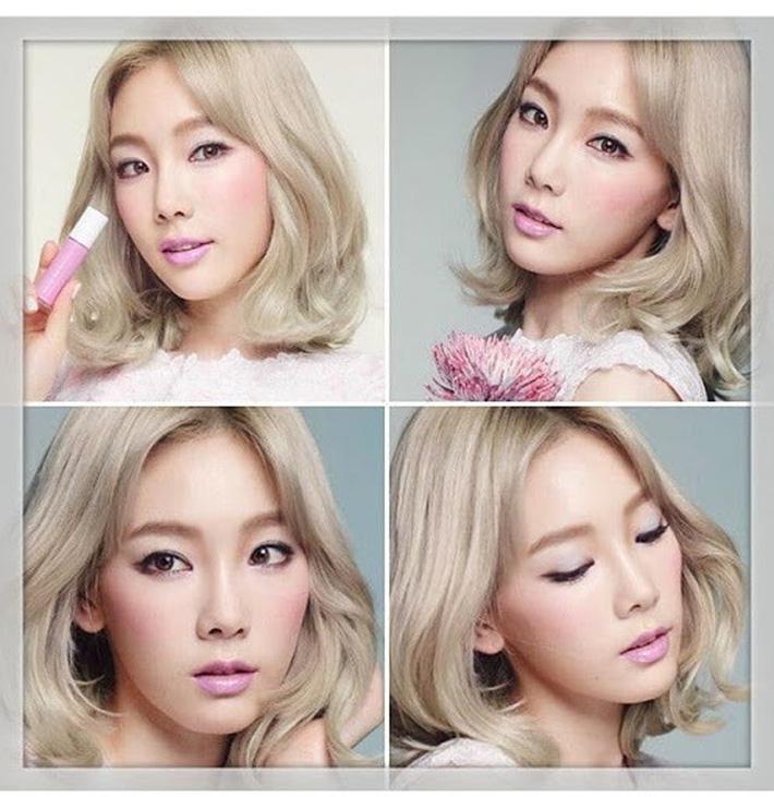 Trong khi phần má hồng được tô điểm thái quá thiếu tự nhiên thì màu son lại vừa nhạt vừa sến. Cũng may vì Taeyeon quá xinh nên mới gỡ gạc lại phần nào cho màn makeup khó cảm này.