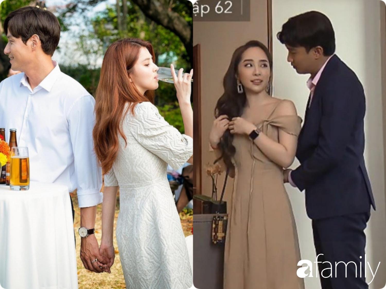 Ngay cả khi cần 'chèo kéo' đàn ông thì Da Kyung vẫn diện đồ đúng mực với váy trắng nhẹ nhàng chứ không như Nhã váy hai dây trễ vai gợi cảm dù đang đi công tác.