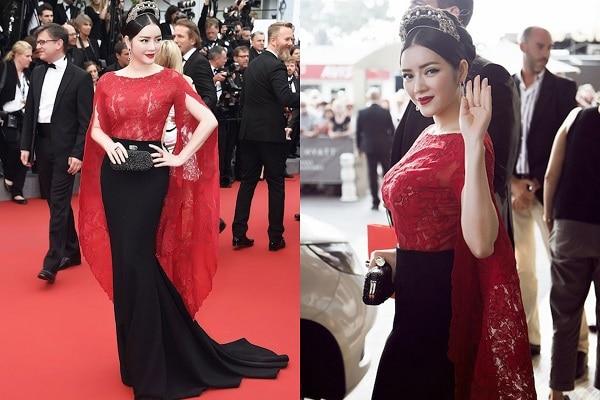 Lý Nhã Kỳ trông như bà hoàng quý phái với thiết kế Haute Couture của Alexis Mabille với gam màu đỏ & đen kết hợp cùng chiếc vương miện cài tóc nhìn cô tỏa sáng trên thảm đỏ hơn bao giờ hết