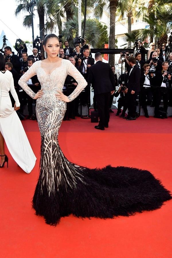 Lý Nhã Kỳ tiếp tục gây ấn tượng với công chúng tại LHP Cannes 2017 với vẻ đẹp đầy quý phái trong chiếc váy được đính kết cầu kỳ cùng phần đuôi lông vũ. Tone makeup tây và tóc đuôi ngựa cột cao