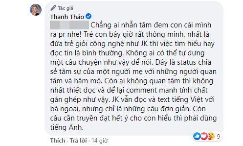Thanh Thảo tiếp tục lên tiếng gay gắt giữa tranh cãi câu chuyện con trai Ngô Kiến Huy không muốn nhận bố ruột 1