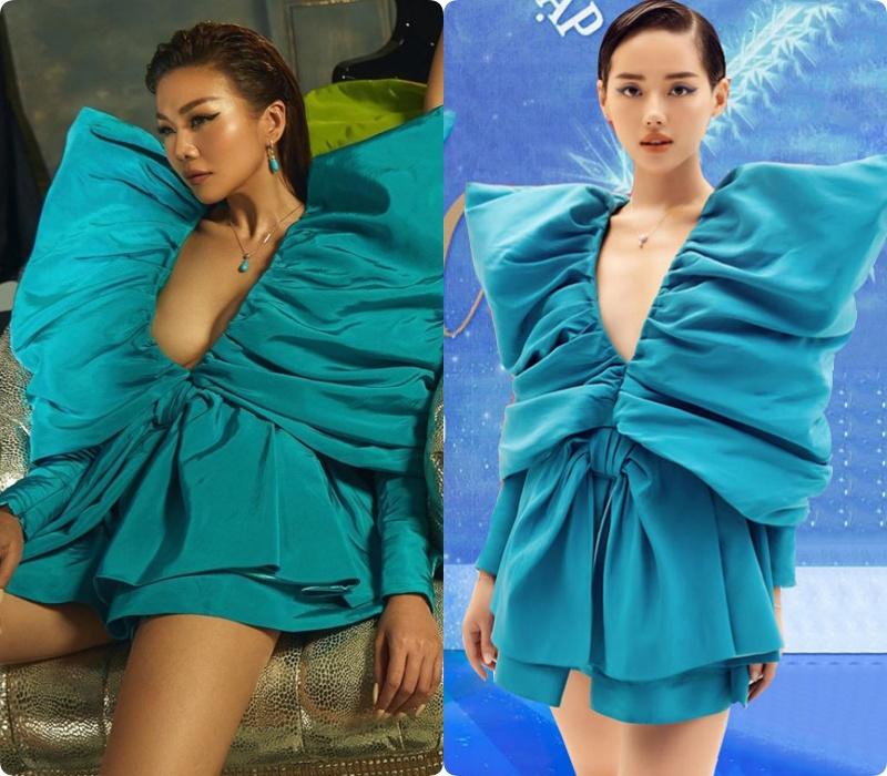 Bộ đầm này cũng từng có pha đụng hàng 'cháy máy' giữa Hồ Ngọc Hà, Thanh Hằng và cô em trendy Khánh Linh.