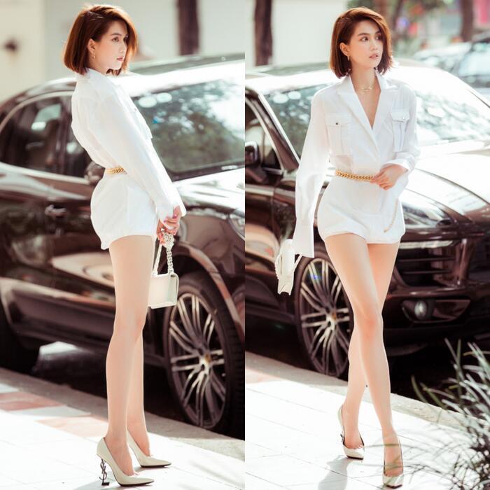 Người đẹp Vbiz cũng từng mang đôi cao gót YSL đế mong manh trong trang phục dạo phố của mình.
