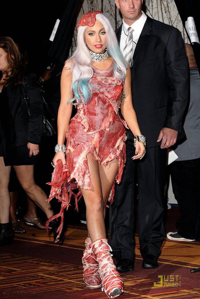 Tại lễ trao giải VMAS 2010, Lady Gaga từng khiến dân tình hốt hoảng khi mặc váy thịt sống đến sự kiện.