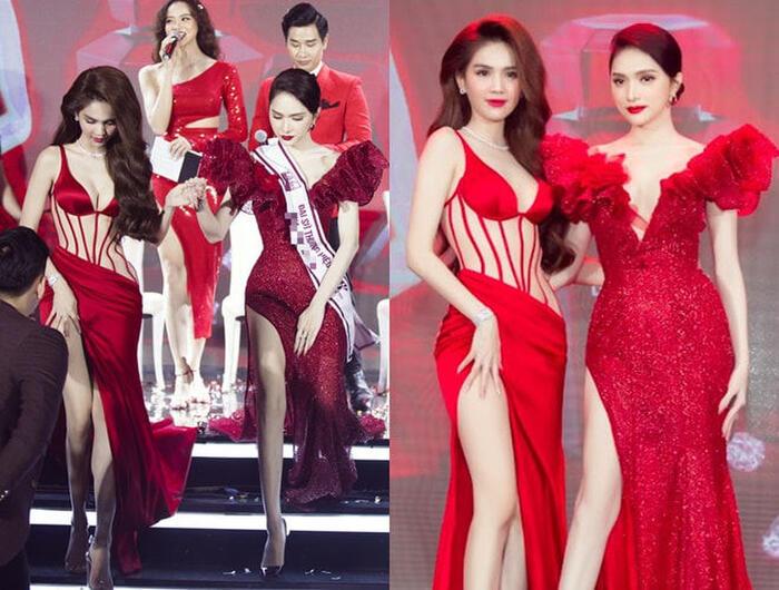 Tham dự một sự kiện gần đây, Ngọc Trinh khiến công chúng không thể rời mắt khi chọn diện chiếc váy đỏ xẻ cao, phối vải xuyên thấu hết sức gợi cảm.