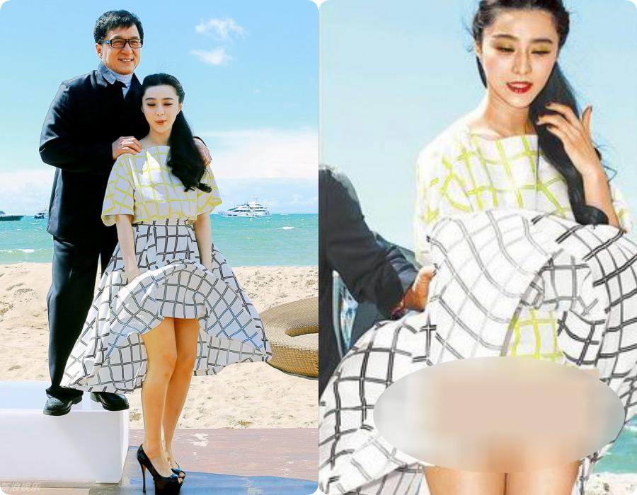 Thật sự sai lầm khi Phạm Băng Băng chọn váy xòe để xuất hiện tại sự kiện ngoài bờ biển. Chiếc váy mỏng nhẹ với đồ xòe rông ấy chỉ cần một cơn gió thoảng qua là có thể tung bay, lộ nguyên ''vùng cấm địa''.