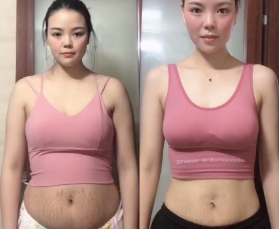 Bà mẹ trẻ này có vóc dáng thiếu săn chắc đặc biệt là vùng vòng 2 không mấy thon thả. Trước khi tập luyện số đo vòng 2 của cô là 72cm. Nhưng chỉ sau 2 tháng chăm chỉ tập tành, vòng eo của cô đã giảm chỉ còn 55cm.