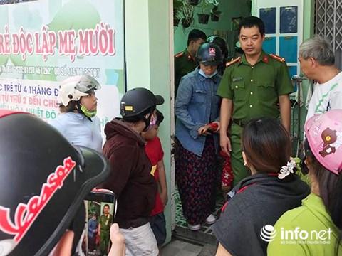 Lực lượng công an đến điều tra vụ bạo hành trẻ em tại nhóm trẻ độc lập Mẹ Mười (Ảnh: HC)