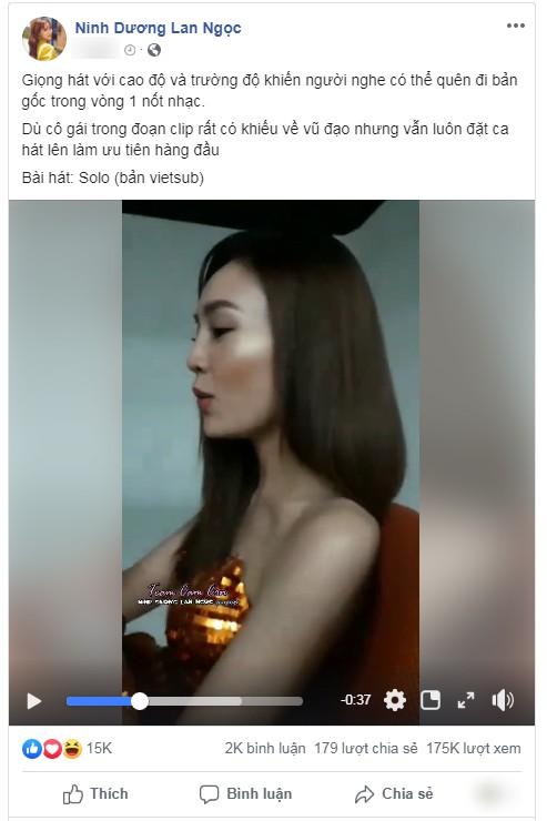 Chỉ sau vài giờ đăng tải đoạn video cover Solo của Ninh Dương Lan Ngọc đã đạt 175.000 lượt xem.