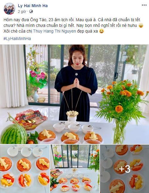 Vợ chồng Lý Hải - Minh Hà làm mâm cúng với xôi chè lạ mắt.