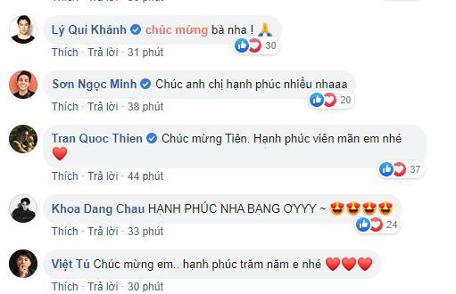 Các nghệ sĩ gửi lời chúc phúc đến vợ chồng Tóc Tiên