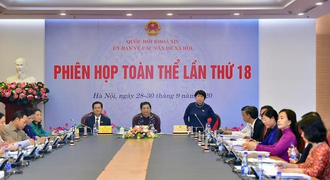 Chủ nhiệm Ủy ban Về các vấn đề xã hội Nguyễn Thúy Anh phát biểu tại phiên họp.