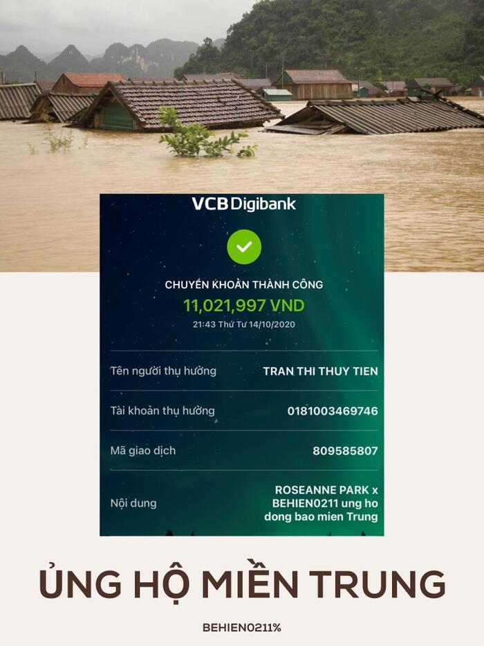 Được biết tài khoản này cũng từng quyên góp 21 triệu đồng trong lần Thủy Tiên kêu gọi giúp đỡ người dân gặp hạn mặn miền Tây.