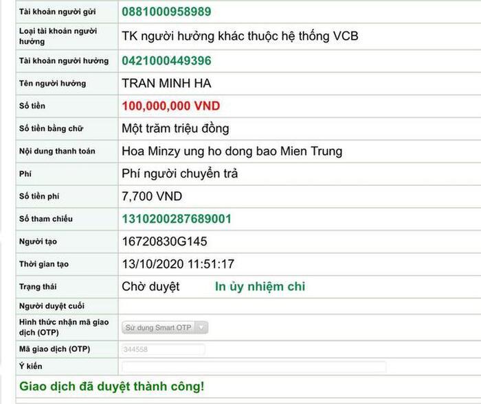 Hoà Minzy đã chuyển tiền quyên góp ủng hộ Miền Trung vào Quỹ Trái Tim Đồng Cảm của vợ chồng anh chị Lý Hải , Minh Hà !