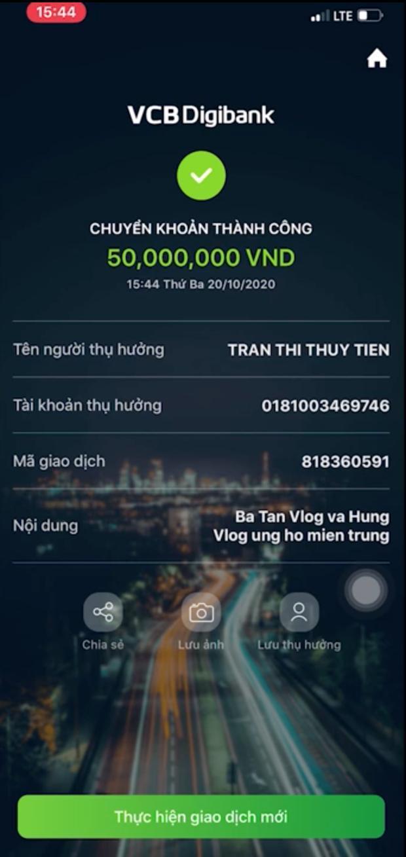 Số tiền không nhỏ đã được chuyển đến tài khoản của ca sĩ Thủy Tiên, bà Tân và con trai mong rằng có thể giúp đỡ phần nào cho mọi người đang gặp khó khăn vì lũ lụt