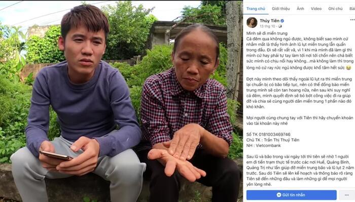 Bà Tân Vlog ủng hộ miền Trung 50 triệu đồng, gửi thẳng vào tài khoản Thủy Tiên 2