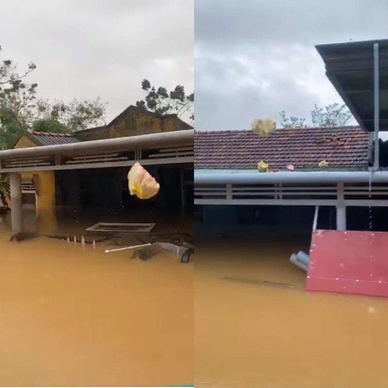 Đồ cứu trợ bị ném rơi xuống nước lũ đục ngầu, có những món đồ người dân không thể vớt vì rơi ở vùng nước quá sâu