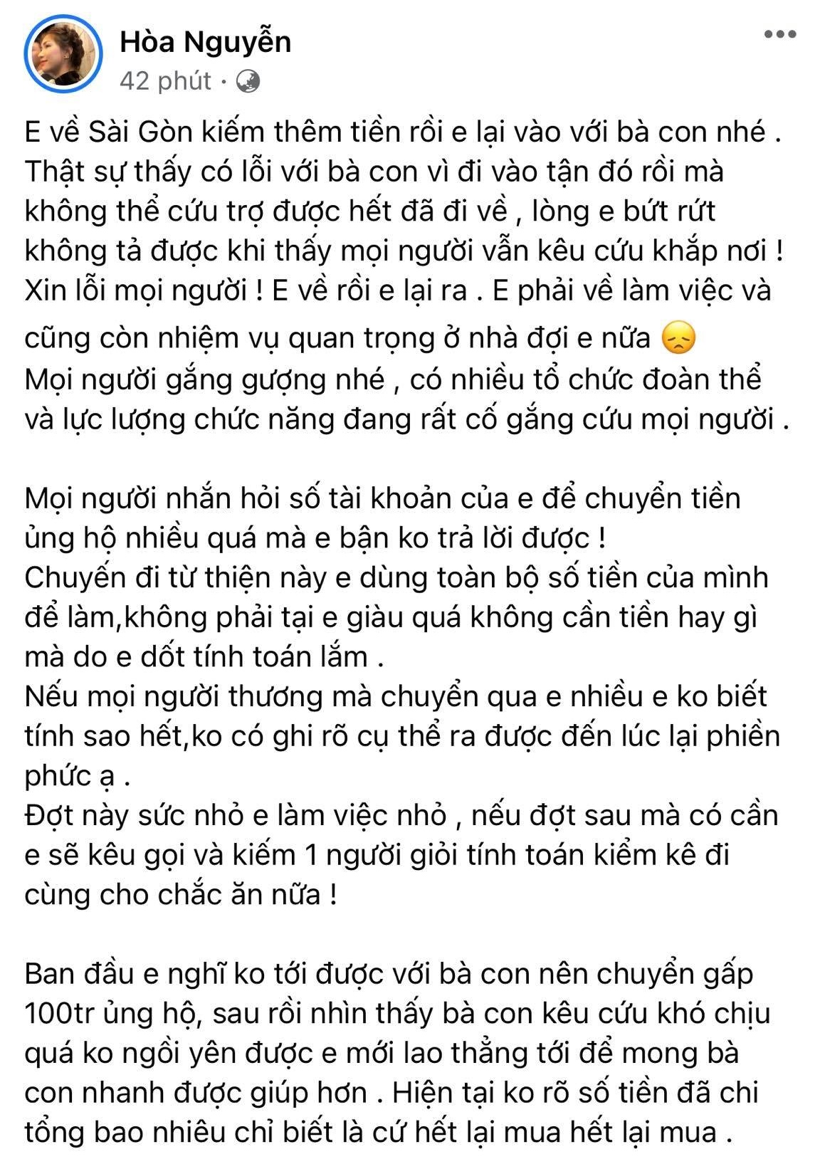 Hòa Minzy tiết lộ lý do không nhận quyên góp mà bỏ tiền túi toàn bộ trong chuyến cứu trợ miền Trung 0