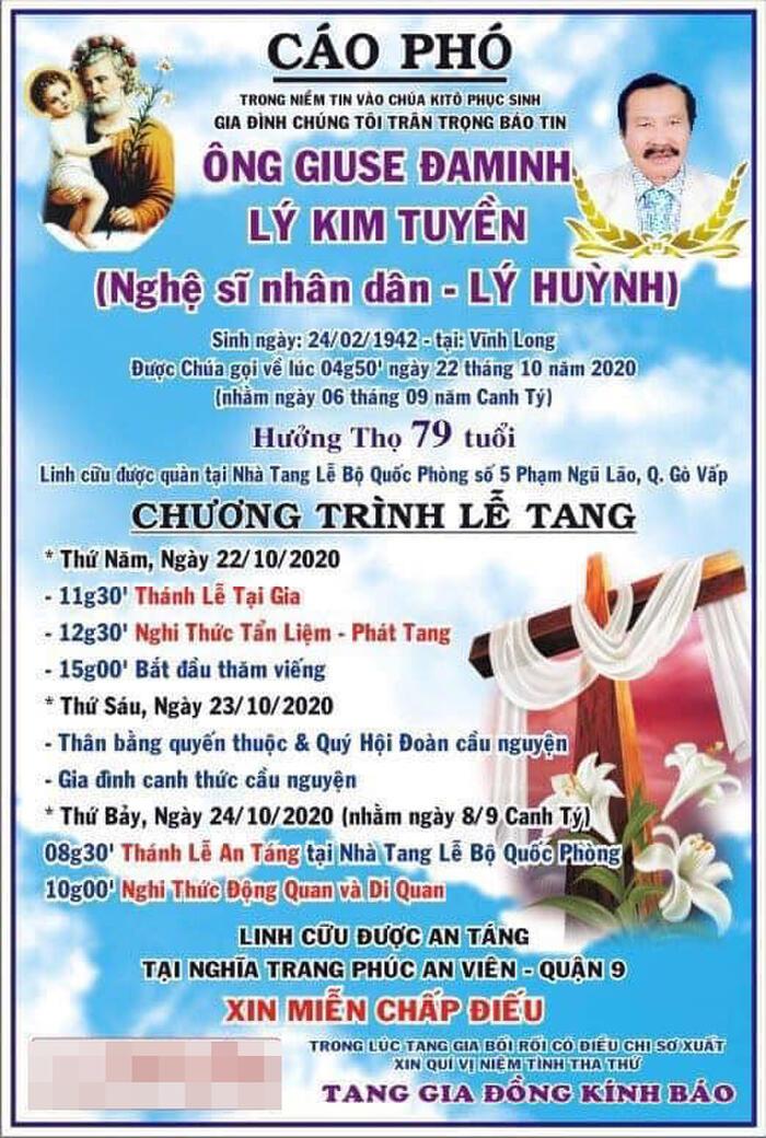 Cáo phó tang lễ NSND Lý Huỳnh