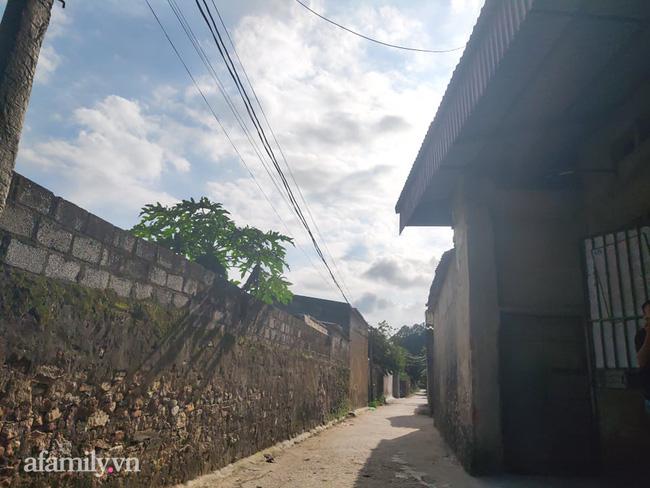 Con đường dẫn vào làng nơi gia đình Tân Hoa hậu Việt Nam đang sinh sống.