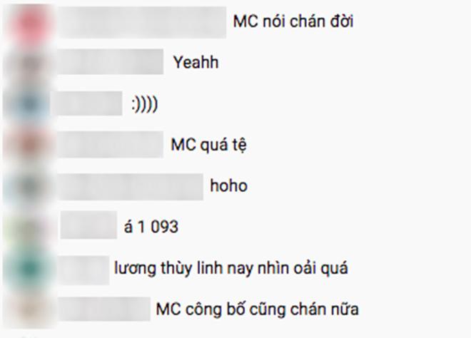 Ở phần livestream chương trình, hàng loạt bình luận không đánh giá cao sự dẫn dắt của các MC.