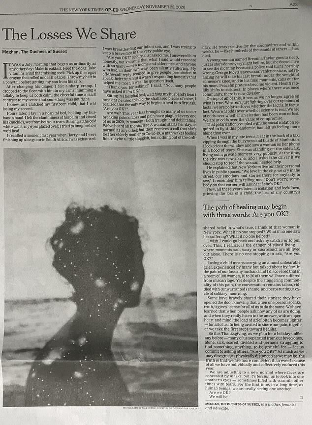 Bài viết của Meghan chia sẻ về nỗi đau bị sảy thai được xuất bản vào ngày 25/11.