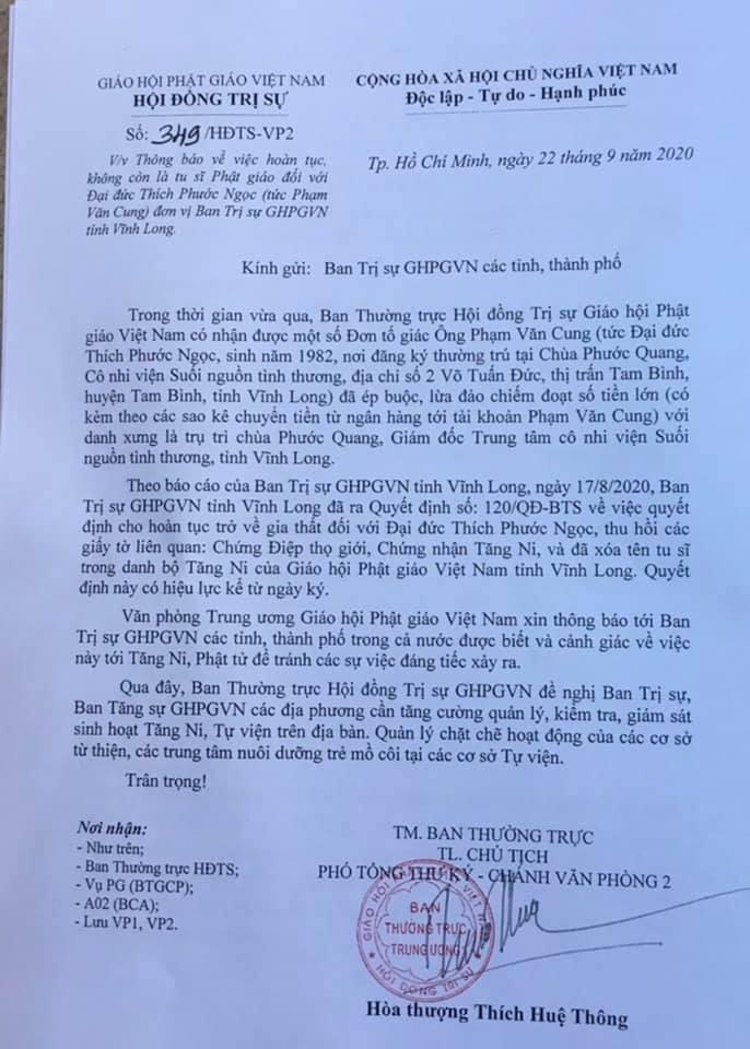Thông báo của Hội đồng trị sự Giáo hội Phật giáo Việt Nam. - Ảnh: VietNamNet