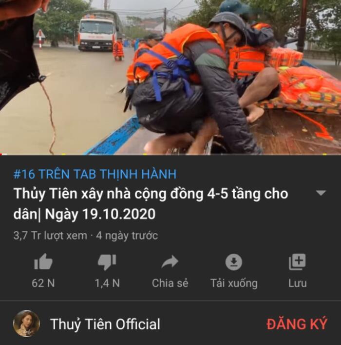 Không cần ra MV hoành tráng, loạt clip cứu trợ miền Trung của Thủy Tiên hiện đang 'xâm chiếm' trending Youtube 3