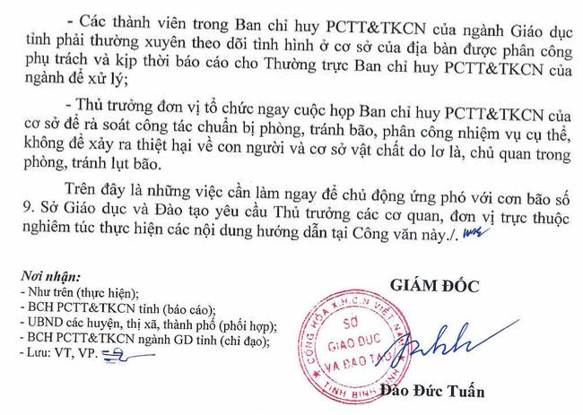 Công văn phòng chống bão số 9 của Sở Giáo dục và Đào tạo tỉnh Bình Định.