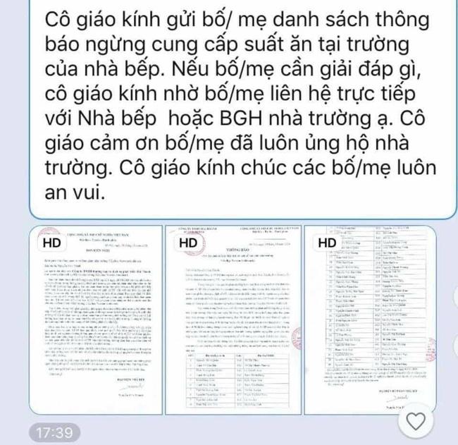 Thông báo của cô giáo gửi đến phụ huynh.