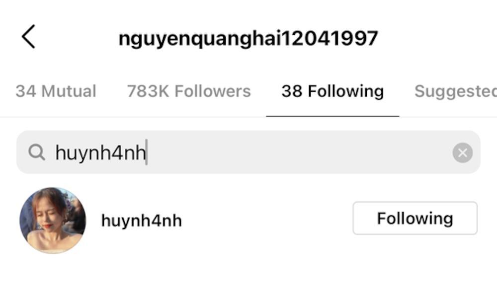 Hóa ra, Huỳnh Anh vẫn nằm trong danh sách những người được Quang Hải theo dõi trên Instagram.