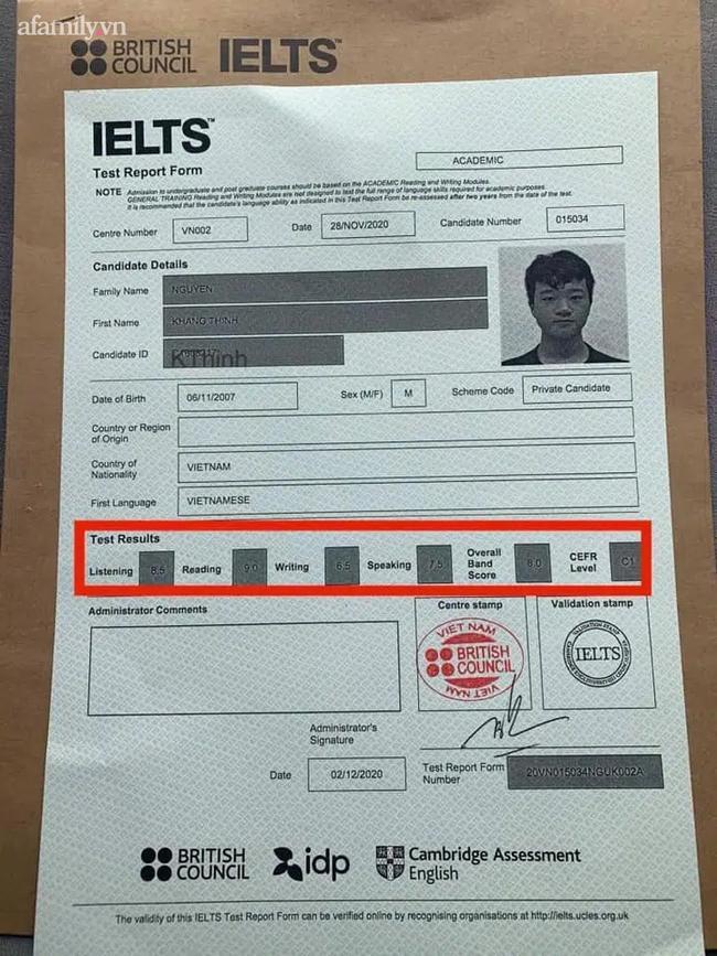 Khang Thịnh đã đạt 8.0/9.0 IELTS ngay từ lần thi đầu tiên.