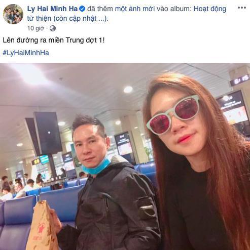 Vợ chồng Lý Hải - Minh Hà đã bay tới miền Trung để cứu trợ cho bà con