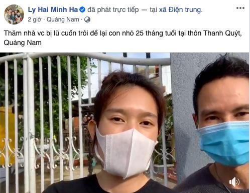 Hai vợ chồng nam nghệ sĩ cập nhật tình hình, cho biết đã đến thăm nhà một cặp vợ chồng bị lũ cuốn trôi, để lại con nhỏ 25 tháng tuổi tại Quảng Nam vào chiều nay (19/10)